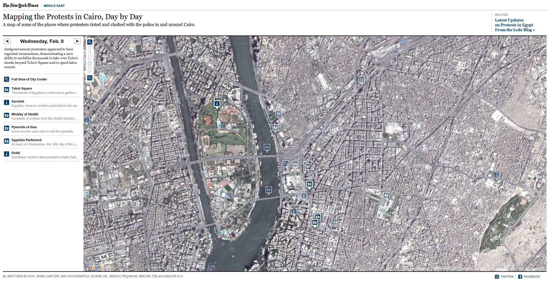 Mapping the Protests in Cairo, Day by Day