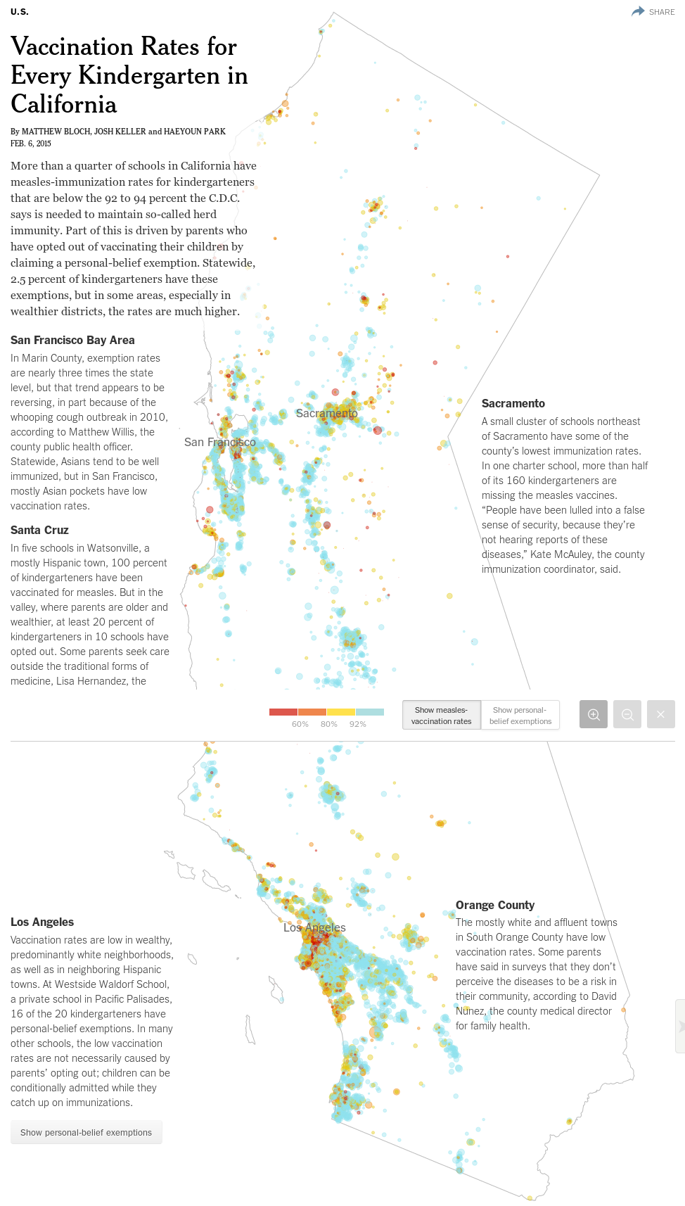Vaccination Rates for Every Kindergarten in California
